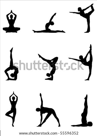 A set of nine yoga silhouette positions in a editable vector file.