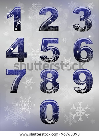 A set of numbers with winter snowflake theme. EPS10 vector format