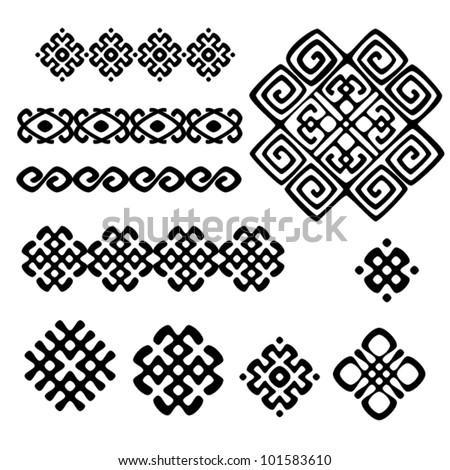 A set of of black and white geometric designs 4. Vector illustration.