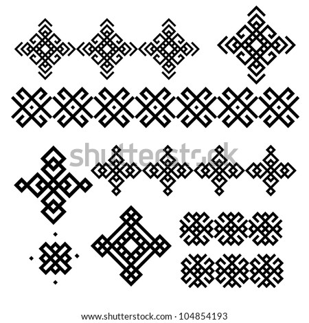 A set of of black and white geometric designs 6. Vector illustration.