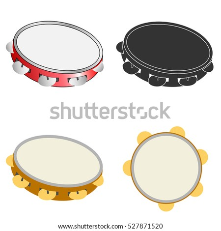 A set of of tambourines, tambourines icon, musical instruments, beat the drum. Flat design, vector. Stock photo ©