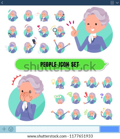 A set of old women with expresses various emotions on the SNS screen.There are variations of emotions such as joy and sadness.It's vector art so it's easy to edit.