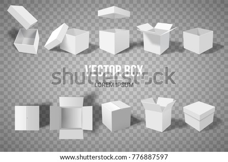 A set of open and closed boxes in different angles. Isometry in perspective. White cardboard box. Vector illustration.