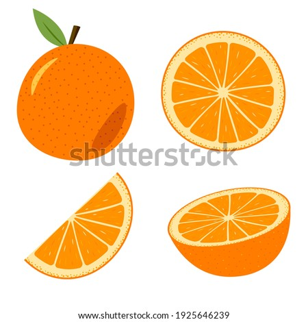 A set of orange, whole and cut. Colored cartoon orange isolated objects on a white.