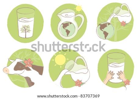 A set of organic milk illustrations.
