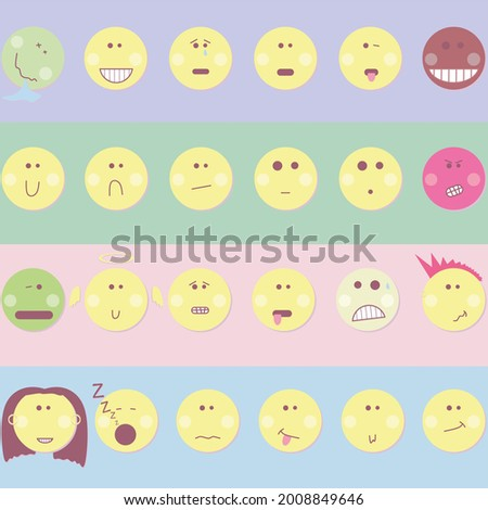 A set of 24 original design emoticons. Cartoon vector smiles. Expression of emotions for social networks. Funny icons. Round vector faces. Foto d'archivio ©