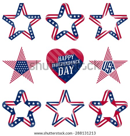 A set of original stars and heart for Independence Day, Fourth of July. July 4th Vector Set.