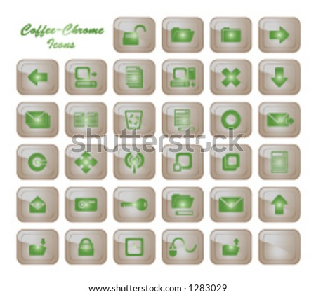 a set of over 30 general-use computer icons (coffee and chrome themed)