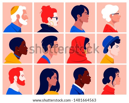 A set of people's faces in profile: men, women, young and elderly of different races and nations. Diversity.  Avatars. Vector flat Illustration