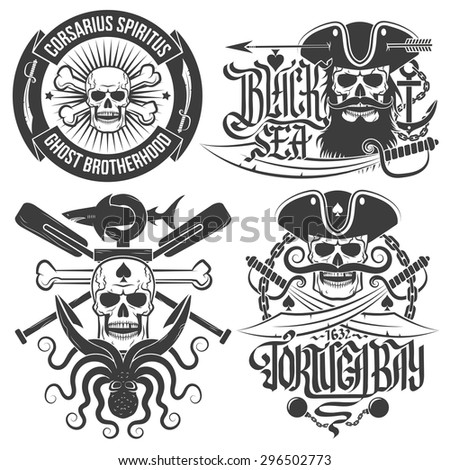a set of pirate emblems with
