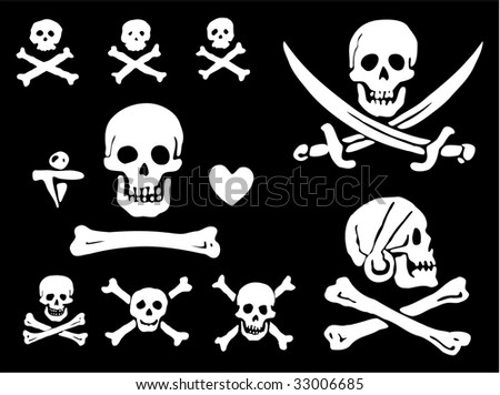 Stock Photo A set of pirate flags, skulls and bones