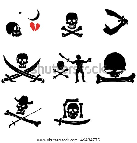 A set of pirate flags, skulls and bones vector illustration