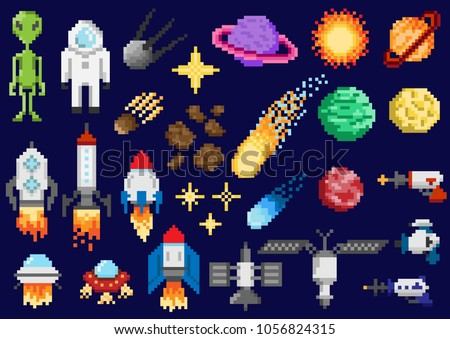 A set of pixel elements. Space ships, planets, satellites and other space objects. For games and mobile applications.