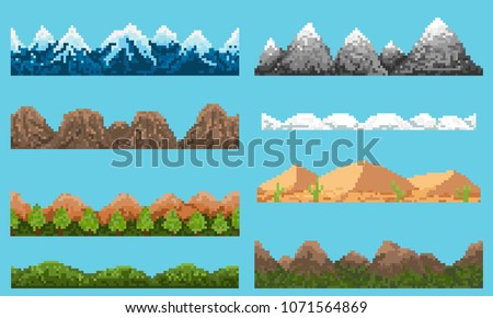A set of pixel seamless element landscape with hill and mountains, for creating different landscapes in games and mobile applications.