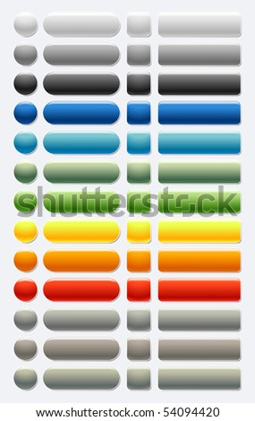A set of Plastic glass shiny Web Buttons Colored. Smartly grouped.