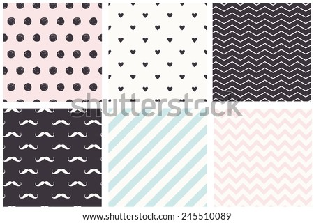 A set of 6 Polka Dot, chevron, stripe, moustache seamless patterns. Pastel trendy style.