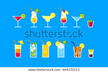 a set of popular cocktails in a