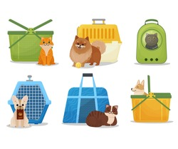 A set of portable baskets, cages and backpacks for pets. Carriers for dogs and cats cartoon style. Plastic pet carriers. Vector illustration isolated on white background.