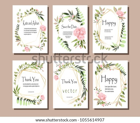 A set of postcards with flowers, leaves. Vector illustration. Decorative invitation to the holiday. Wedding, birthday. A universal card.Pink rose.  Geometric frames. #1055614907