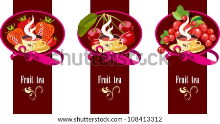 a set of posters with different fruit and a cup of tea