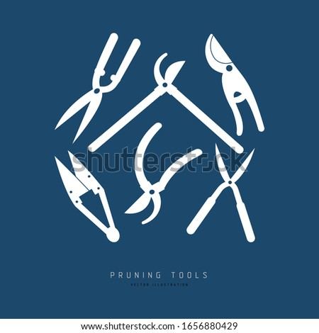 A set of professional garden tools for pruning and tree care: loppers, hedge clippers, hand shears, topiary shears, secateurs. Flat vector illustration with a text on the dark background.