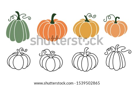 A set of pumpkins in various shapes, black outlined and colored. Vector collection of cute hand drawn pumpkins on white background. Elements for autumn decorative design, halloween invitation, harvest Stockfoto ©