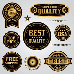 A set of quality, value, satisfaction guarantee, made in the USA, shipping, labels and badges illustrated in black and gold leaf. Vector EPS 10.
