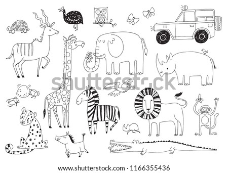 a set of quirky african animals