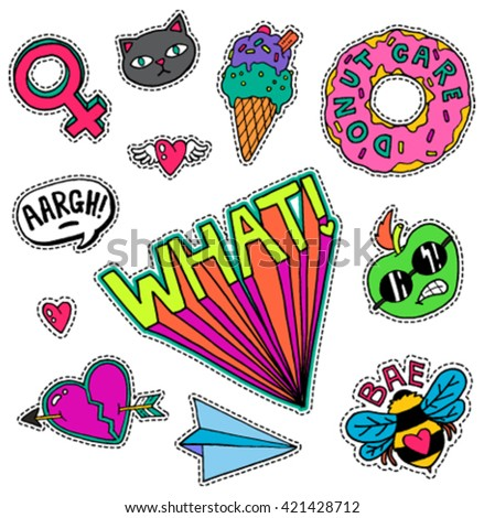 A set of quirky cartoon patch badges or fashion pin badges #421428712
