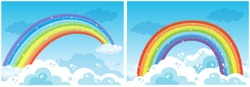 A Set of Rainbow on Sky illustration