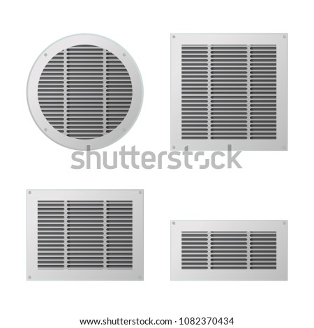 A set of rectangular and circular ventilation grilles. Exhaust and supply ventilation system. Vector illustration. Photo stock ©