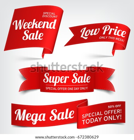 A set of red paper sale banners. Vector illustration.