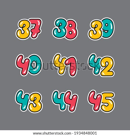 a set of red, yellow and green numbers with a black outline,  from thirty-seven to forty-five on a gray background, vector Stockfoto ©