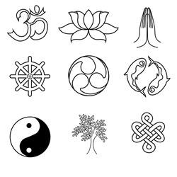 A set of religion symbols - Buddhism. Black silhouettes isolated on white background