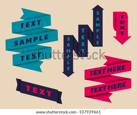 A set of retro banners in origami style. - stock vector