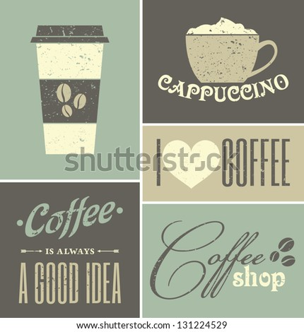 a set of retro design coffee