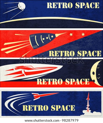 A set of Retro Space Web Banner Illustrations