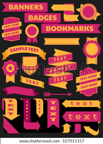 A set of retro style banners, bookmarks and badges.