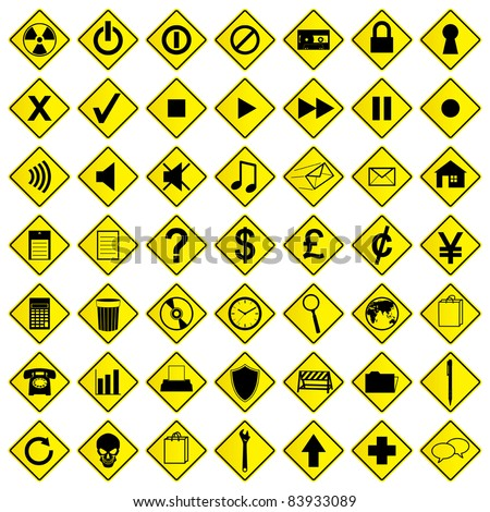 A set of road sign computer icons