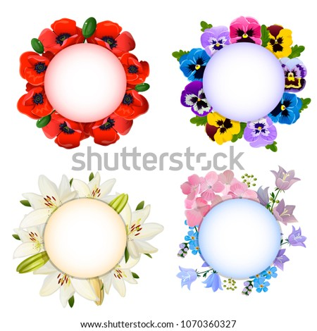 A set of round cards with poppies, lilies, pansies, hydrangeas, bells and forget-me-nots. Vector illustration.