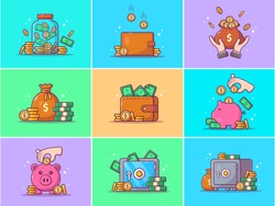 A Set Of Saving Money Vector Icon Illustration. Collections Of Saving Money Icons Concept Isolated. Flat Cartoon Style Suitable for Web Landing Page, Banner, Flyer, Sticker, Card, Background