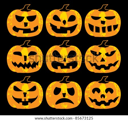 A set of scary halloween pumpkins on a black background