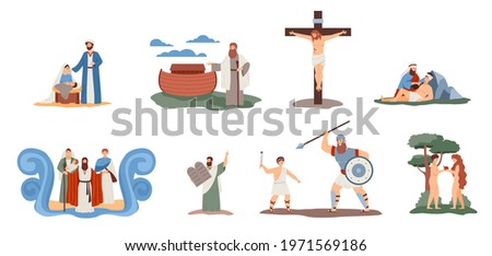 A set of scenes with holy bible characters. Legendary historical people from biblical christian religion story. Flat cartoon vector illustrations isolated on a white. Zdjęcia stock ©