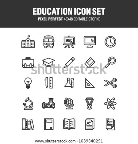 A set of school and educational icons. Contains icons for the services involved in the training. Editable stroke. 48x48 Pixel Perfect.