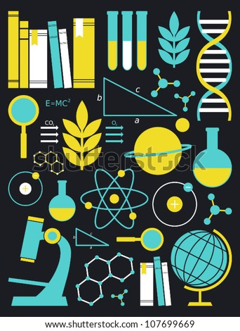 A set of science and education symbols in yellow and blue.