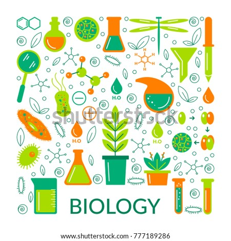 A set of scientific biological icons. Vector illustration.