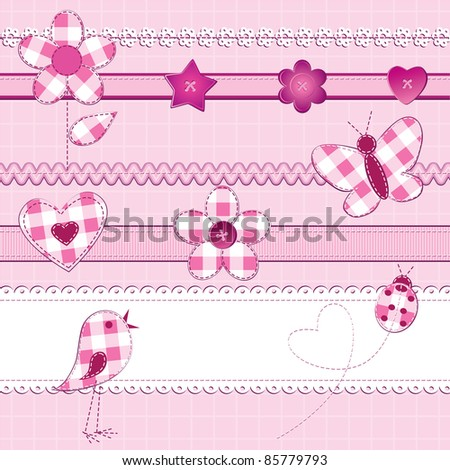 A set of 15 scrapbook elements: flowers, ribbons, buttons, ladybug and bird on a checkered background. Pink color, perfect for baby girl, Valentine day or wedding themes.