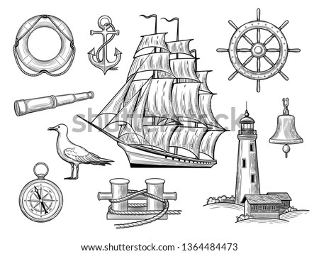 A set of sea adventures. Anchor, wheel, caravel, bollard, gull, bell, lifebuoy, lighthouse, compass, Anchor, Spyglass isolated on a white background. Vector illustration of vintage style.