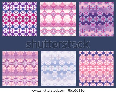 A set of seamless background and textile patterns. Winter Christmas decorations.