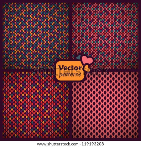 A set of 4 seamless ethnic patterns. Vector backgrounds.